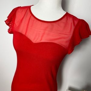 Express Red Ruffled Shoulder Top